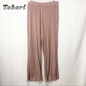 Tahari-Blush lounge pants w lace trim bottoms M